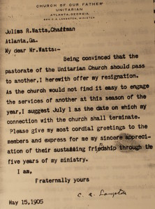 Rev. C.A. Langston Resignation Letter from the Unitarian Church of Atlanta  (Using old letterhead from Church of Our Father)