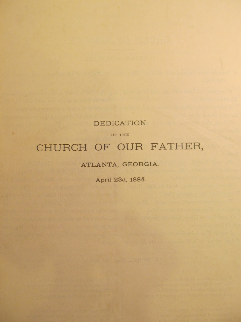 Order of Service for the dedication of the Church of our Father