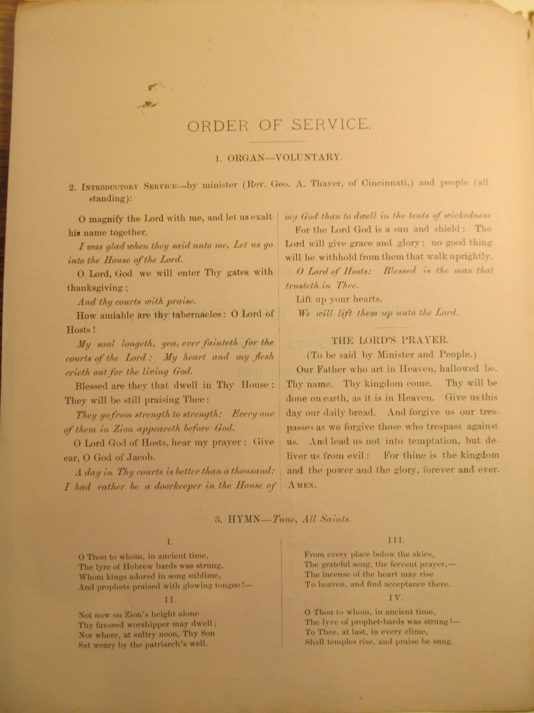 Order of Service for the dedication of the Church of our Father (Page 2)
