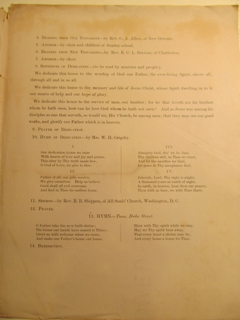 Order of Service for the dedication of the Church of our Father (Page 3)