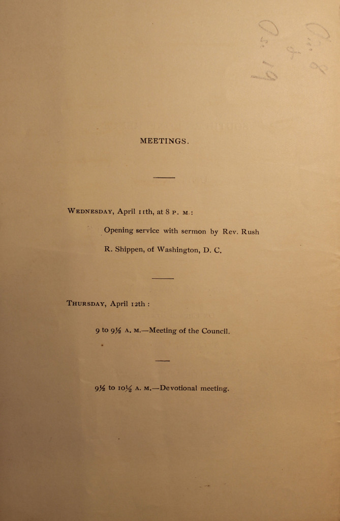 Order of Service Southern Conference Meeting Apr 11- 12, 1888 (page 2)