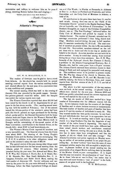 Onward article Feb 14, 1903