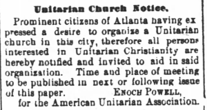 1881.01.12 Notice - Early Notice of Upcoming Unitarian Services in Atlanta