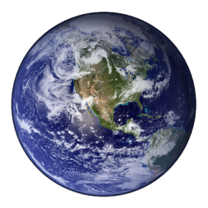 blue and white image of the earth from outer space