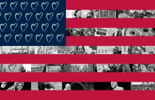 American flag with hearts instead of stars and black and white photos of UUs participating in social action in the white stripes